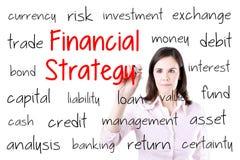 Jeune femme d'affaires écrivant le concept financier de stratégie D'isolement sur le blanc Photographie stock libre de droits