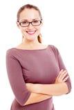 Jeune femme d'affaires au-dessus de blanc Photographie stock libre de droits