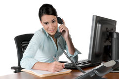 Jeune femme d'affaires au téléphone, d'isolement Photographie stock
