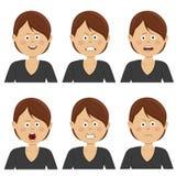 Jeune femme d'affaires avec de diverses expressions d'avatar réglées Illustrations plates Photographie stock