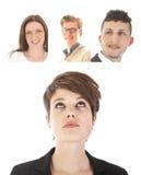 Jeune femme d'affaires avec des amis d'isolement Photo libre de droits