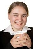 Jeune femme d'affaires avec du café Photographie stock