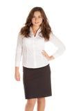 Jeune femme d'affaires avec du charme d'isolement sur le fond blanc Image libre de droits