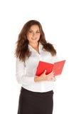 Jeune femme d'affaires avec du charme d'isolement sur le fond blanc Photo stock