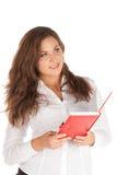 Jeune femme d'affaires avec du charme d'isolement sur le fond blanc Photographie stock