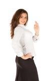 Jeune femme d'affaires avec du charme d'isolement sur le fond blanc Photos stock
