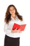 Jeune femme d'affaires avec du charme d'isolement sur le fond blanc Photographie stock libre de droits
