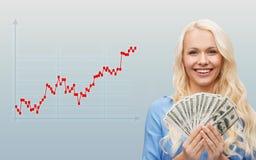 Jeune femme d'affaires avec l'argent d'argent liquide du dollar photos stock