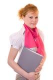 Jeune femme d'affaires avec le document Images stock