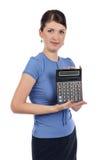 Jeune femme d'affaires avec une calculatrice Image libre de droits