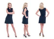 Jeune femme d'affaires blonde dans la pose de tenue de soirée d'isolement photos stock