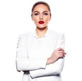 Jeune femme d'affaires chaude sexy caucasienne magnifique Image stock
