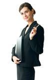 Jeune femme d'affaires, d'isolement Photographie stock libre de droits