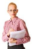 Jeune femme d'affaires d'isolement image stock
