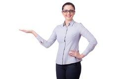 Jeune femme d'affaires d'isolement Photographie stock libre de droits