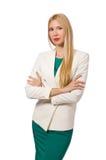 Jeune femme d'affaires d'isolement Images stock