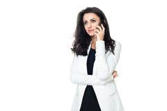 Jeune femme d'affaires d'isolement sur le blanc Photo libre de droits