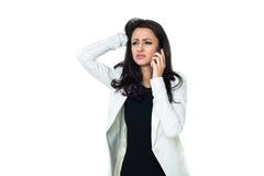 Jeune femme d'affaires d'isolement sur le blanc Image stock