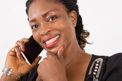 Jeune femme d'affaires dans la communication Photos stock