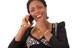 Jeune femme d'affaires dans la communication Images libres de droits