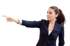 Jeune femme d'affaires dirigeant le doigt photos libres de droits