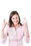 Jeune femme d'affaires faisant un souhait, d'isolement sur le fond blanc. photographie stock libre de droits