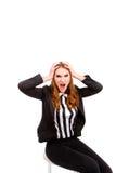 Jeune femme d'affaires frustrante et soumise à une contrainte dans le costume Images stock