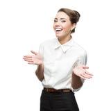 Jeune femme d'affaires gaie Photo stock