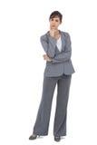 Jeune femme d'affaires réfléchie regardant l'appareil-photo Photo stock