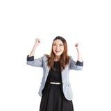 Jeune femme d'affaires réussie célébrant la réussite Photos stock