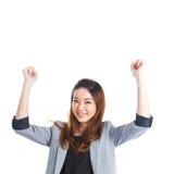 Jeune femme d'affaires réussie célébrant la réussite Image libre de droits