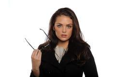Jeune femme d'affaires retenant ses glaces Images libres de droits