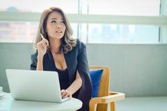 Jeune femme d'affaires s'asseyant au bureau Photographie stock libre de droits