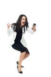 Jeune femme d'affaires sur le fond blanc Photographie stock