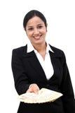 Jeune femme d'affaires tenant les notes indiennes de devise photos libres de droits