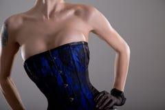 Jeune femme d'une forte poitrine dans le corset noir et bleu avec le modèle floral Photographie stock