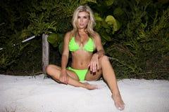 Jeune femme d'une forte poitrine sexy dans un bikini Image libre de droits