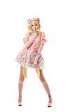Jeune femme dans cosplay de costume de lolita d'isolement Photographie stock libre de droits