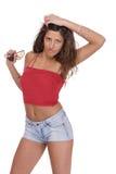 Jeune femme dans des circuits de jeans photos libres de droits