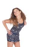 Jeune femme dans des circuits de jeans images stock