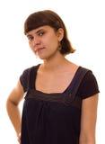 Jeune femme dans des sundress de jeans Photo stock