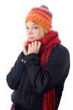 Jeune femme dans l'écharpe et le capuchon Photos stock
