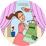 Jeune femme dans l'amour s'habillant pendant une date Photos stock