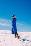 jeune femme dans l'hiver extérieur Image stock