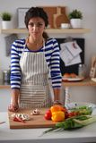 Jeune femme dans la cuisine préparant un aliment Jeune femme dans la cuisine Photo libre de droits