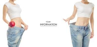Jeune femme dans la perte de poids de jeans amincissant avec le modèle réglé de pomme photographie stock