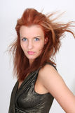 Jeune femme dans la robe avec la coiffure Photographie stock