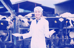 Jeune femme dans la robe blanche à l'exploitation d'élevage Images libres de droits