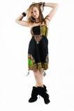 Jeune femme dans la robe colorée Photographie stock