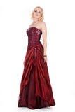 Jeune femme dans la robe rouge Photos libres de droits